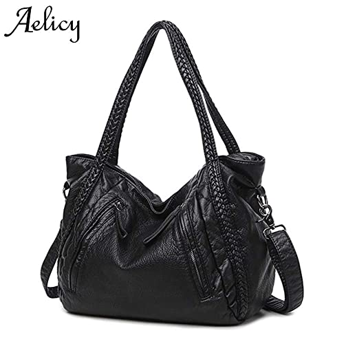 b2b422b49b Amazon.com  Aelicy New Large Soft Leather Bag Women Handbags Ladies  Crossbody Bags For Women Shoulder Bags Female Big Tote bolsos mujer Color  Black Middle  ...