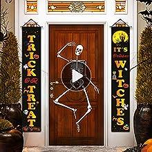 Halloween Door Banner Halloween Porch Decorarions Halloween Door Sign Banner Trick or Treat & It's October Witches Hanging Props Decor for Indoor Outdoor 72 x 12 inches 2 PCS