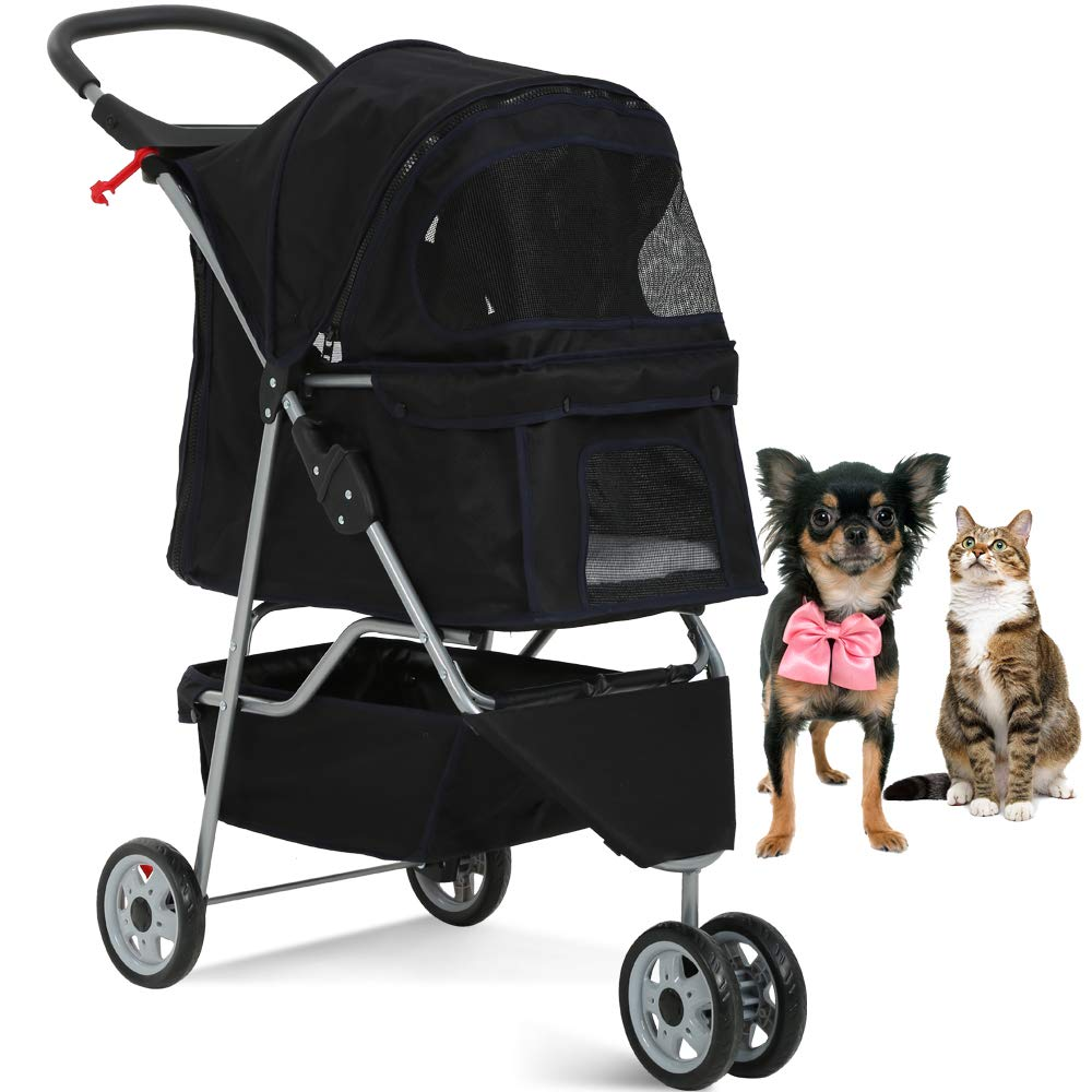 Pet Stroller Jogger Cat Dog Cage 3 Wheels Stroller Travel Folding Carrier Strolling Cart with Cup Holders and Removable…