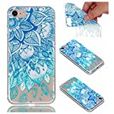 Cover Case for iPhone 6 / iPhone 6S, CrazyLemon Transparent Soft TPU Silicone Gel Shock Proof Clear Varnish Technology Embossed Creative Pattern Design Scratch Resistant Rubber Skin Shell Protective Case Cover for iPhone 6S / iPhone 6 4.7 inch - Blue Leaves