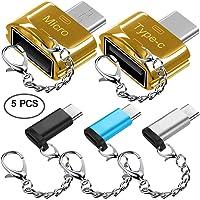 Adaptadores Type-C de 5 piezas con llaveros, AFUNTA USB-C (Masculino) a Micro USB y USB 2.0 (Hembra) con Micro USB 2.0 OTG, Tipo C Convertidor Conector Fast Charger para Samsung S8 Nuevo Macbook Pixel XL Nexus
