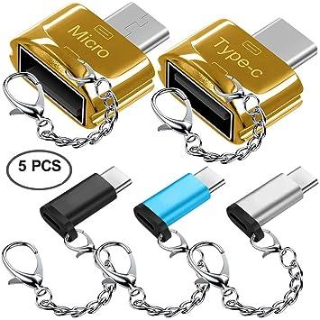5 pcs Adaptadores Tipo C con Llaveros, AFUNTA USB-C (Macho) a Micro USB y USB 2.0 (Femenino) con Micro USB 2.0 OTG, Tipo C Convertidor Conector ...