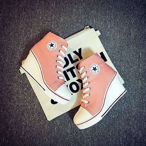 Padgene Lace Pump Sneaker Fashion UP Wedges High Canvas Pink Shoes Women's Heeled Side High Zipper Shoes 1rF1AqUR