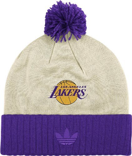 Los Angeles Lakers NBA Adidas Originals Throwback Retro Date Knit Hat w/ Pom