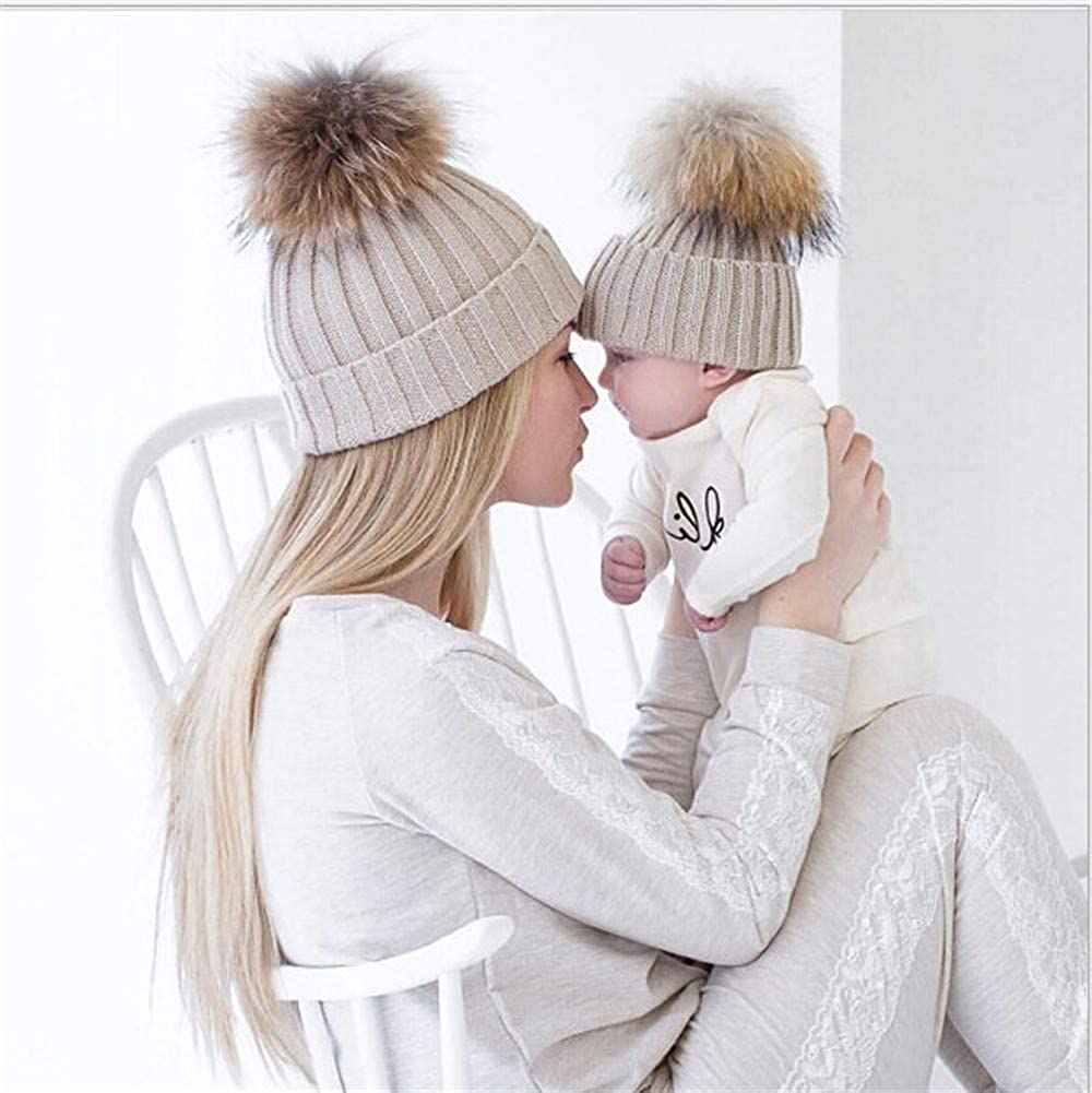 SKYLA Mom and Me Matching Warm Winter Hat Red//Black//White//Pink//Beige Mommy and Me Hats Set Women Boys Girls Baby Hats /& Caps