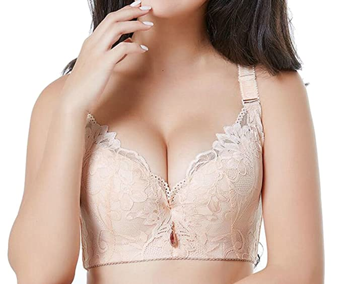 6d80a9f63a76e8 Domple Women s Support Full-Coverage Plus Size Bralette Underwire Push up  Bra 1 34A