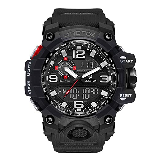 Digital Men Wrist Watch, Military Tactical Waterproof Analog Quartz Watches for Men, Black Large Face Dual Display LED Watch, Sports Watches for Surf and ...