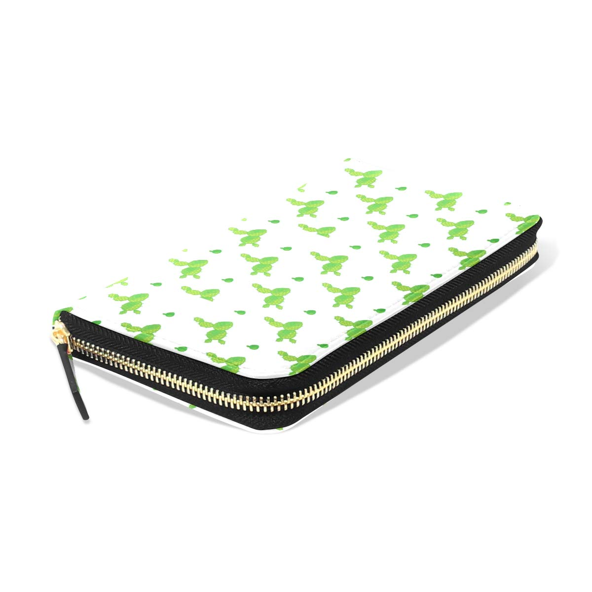 Women LeatherVariety Of Abstract Cacti GreenWallet Large Capacity Zipper Travel Wristlet Bags Clutch Cellphone Bag