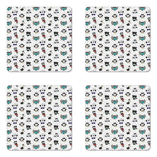 Superhero Coaster Set of Four by Lunarable, Animal Owl Dear Fox Cat Penguin Raccoon Bear in Superhero Costumes Print, Square Hardboard Gloss Coasters for Drinks, White Seal Brown - Club Penguin Art Costume