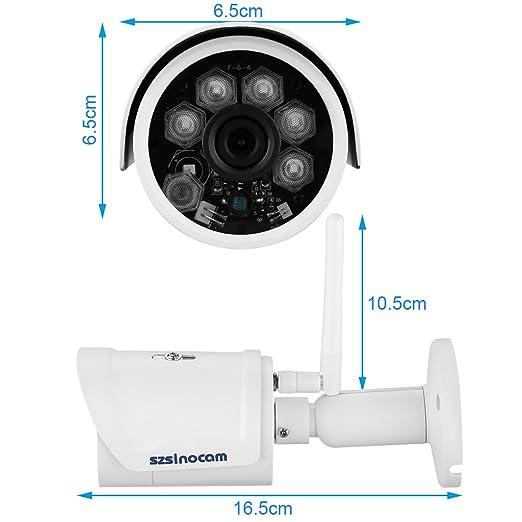 Szsinocam - 1080P H.264 Impermeable P2P WIFI Cámara IP de Vigilancia Seguridad (2.0Mp, ONVIF, Visión Nocturna, 25 Fps, WLAN, CCTV, Compatible con Móviles ...