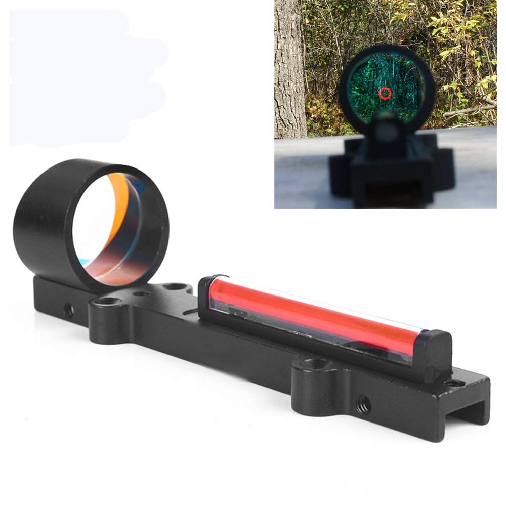 Luger 1x28 Red Dot Sight Fiber Holographic Scope Ultralight for Rib Rail Rifle Hunting Shooting (Red) by Luger