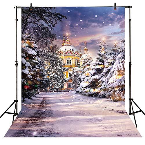 (Allenjoy 5x7ft Winter Glitter Snow Scene Photography Backdrop Outdoor White Snowy Tree Snowflake Christmas Wonderland Kids Photo Background Portrait Studio Props Photo)