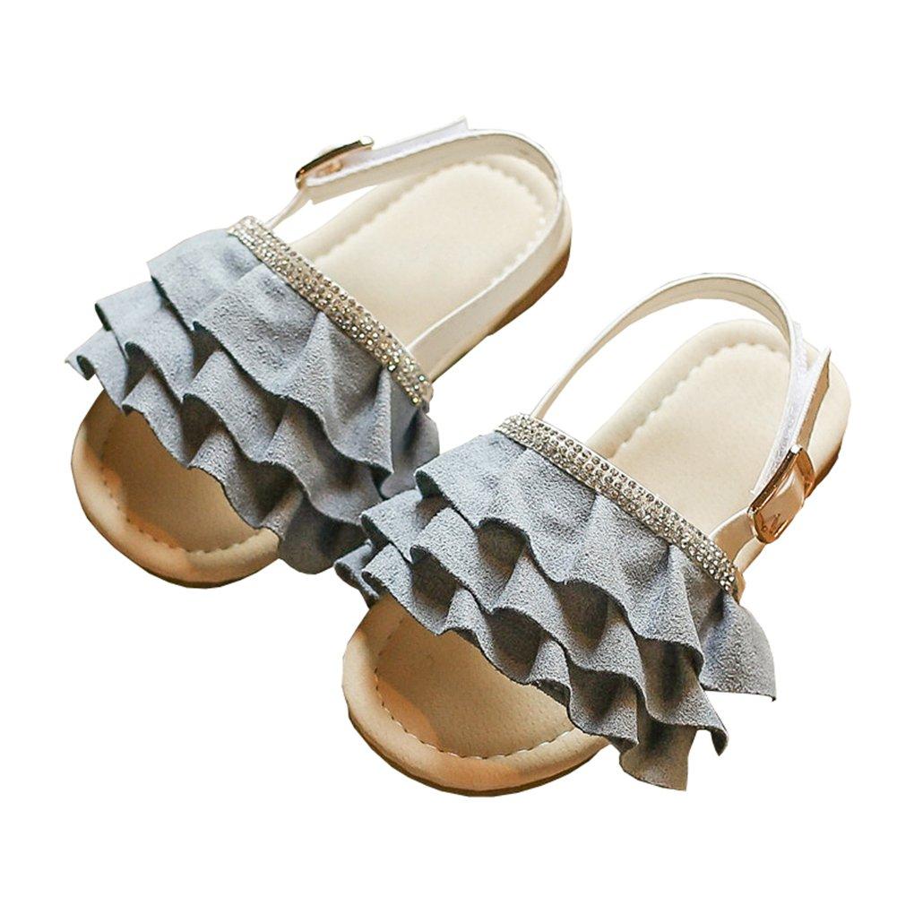 lakiolins Toddler Girls Layered Ruffled Slip On Slides Summer Beach Slingback Flat Sandals Grayish Blue Size 22