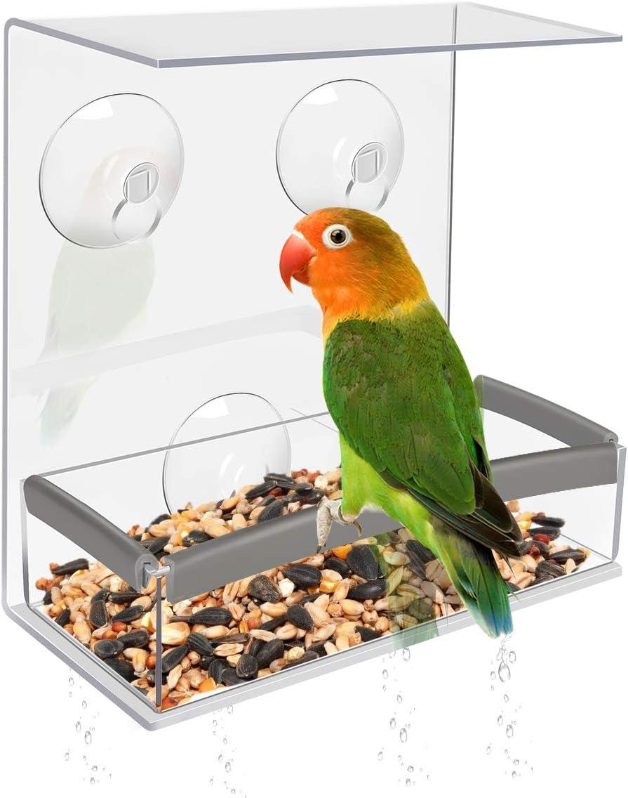 Achort Alimentador de Pájaros con Orificios de Drenaje, Comedero Pájaros para Ventana con 3 Ventosas, Bandeja extraíble, Cristal Acrílico y PVC, Alta Capacidad de Semillas 16.5 * 15 * 6.5cm