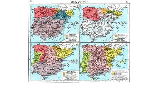 España. En 910; 1037 1150; 1212 – 1492 – 1956 – Old Antiguo Mapa Vintage – Mapas de Impreso de España: Amazon.es: Hogar