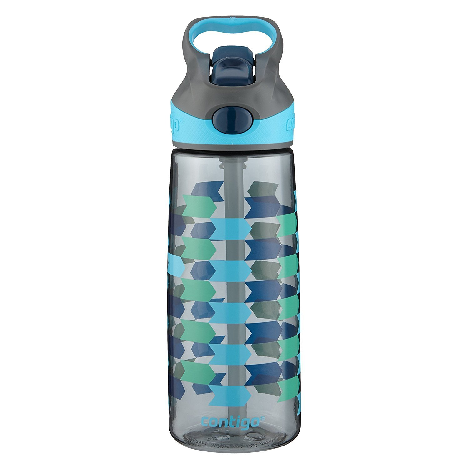 Contigo AUTOSPOUT Straw Striker Kids Water Bottle, 20 oz, Charcoal Chevron Arrows