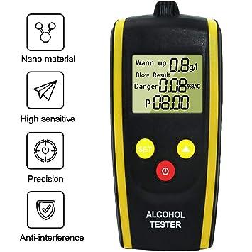 Wysgvazgv Alcoholímetro Digital, Analizador de Respiración Probador Portátil de Alcohol Tecnología de Sensor Semi-Conductor Profesional con Pantalla LCD ...