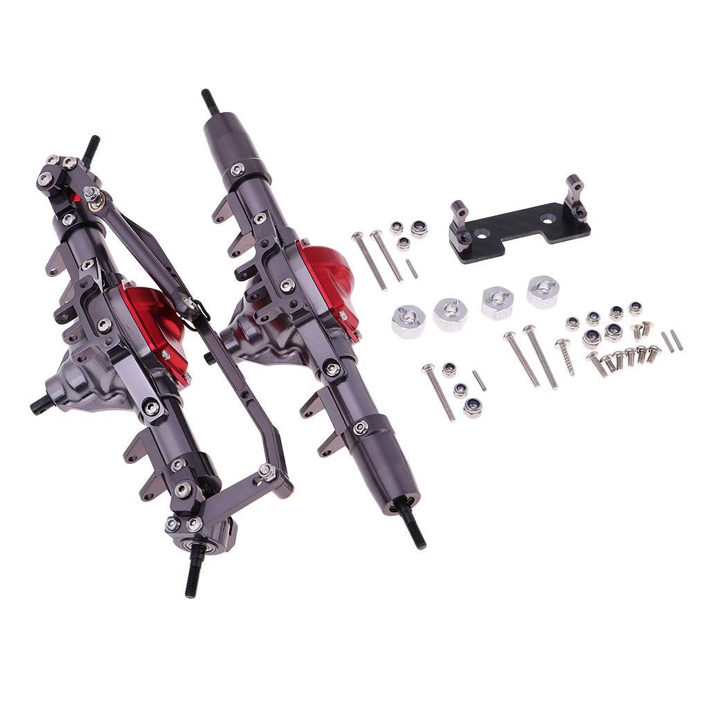 Homyl 1 Paar Metall Vordere Hintere Achsen Zubehör Kit für 1:10 Axial SCX10 D90 RC Auto - Grau