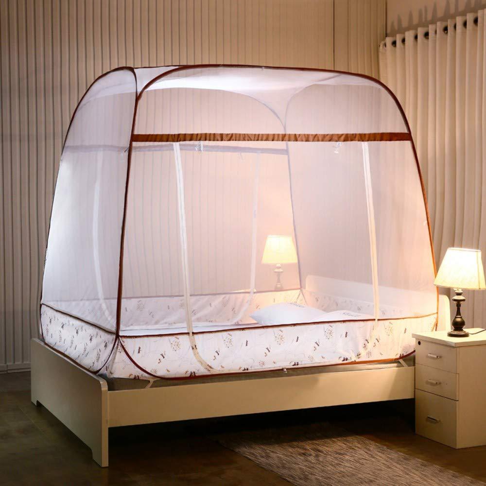 MINGXIO Mosquito net Mosquito net Full Bottom Square Zipper Mosquito net, Camel, 1.5m