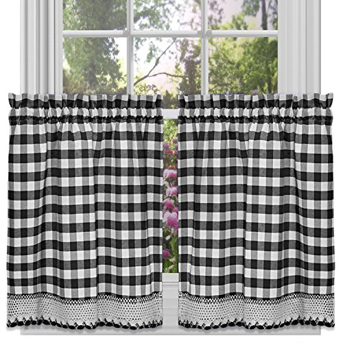 Black Gingham Curtains - Sweet Home Collection Decorative Buffalo Check Design Kitchen Window Curtain Panel Treatment, 36