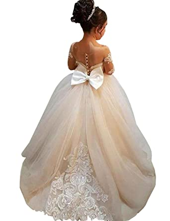 a2422c9a783a4 Amazon.com  MuchXi Lovely Lace Flower Girls Dresses Kids First Communion  Dress Princess Wedding Pageant Ball Gown  Clothing