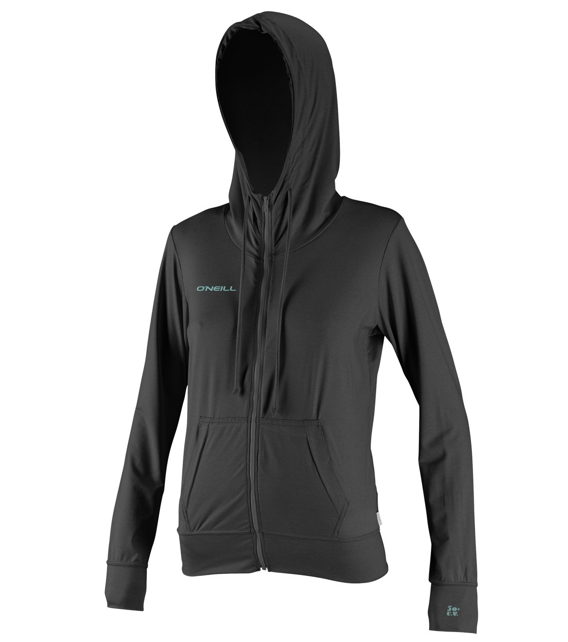 O'Neill Wetsuits UV Sun Protection Womens 24-7 Hybrid Zip Hoodie Sun Shirt Rash Guard, Graphite, Small