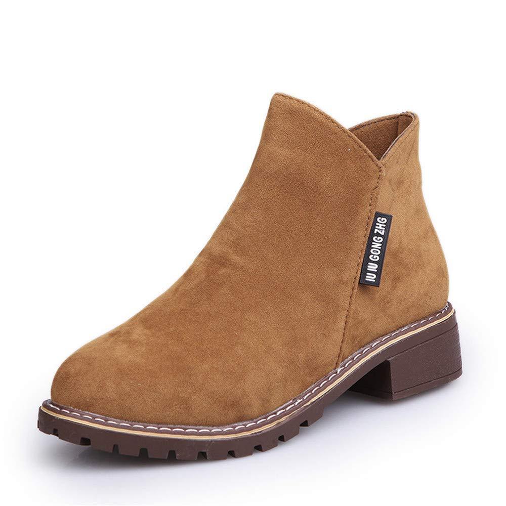 High Heels Einzelne Stiefel Damen Martin Stiefel Stiefel Stiefel Student Retro Low Heel Rundkopf Damenschuhe Stiefel, braun, 40 (Farbe   -, Größe   -) cd69be