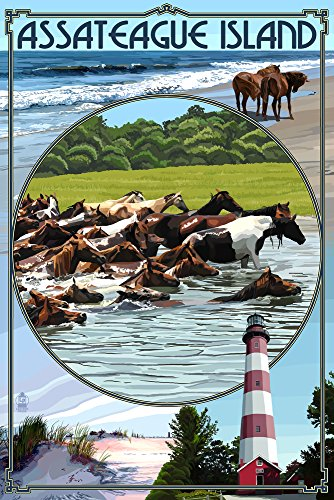 Assateague Lighthouse (Assateague Island, Maryland - Montage (12x18 SIGNED Print Master Art Print w/ Certificate of Authenticity - Wall Decor Travel Poster))