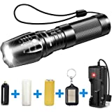 BYBLIGHT Rechargeable LED Torch, Super Bright 800 Lumen Adjustable Focus Tactical Flashlight with 26650 Powerful Battery, IP65 Waterproof Torch for Camping, Dog Walking, Outdoor