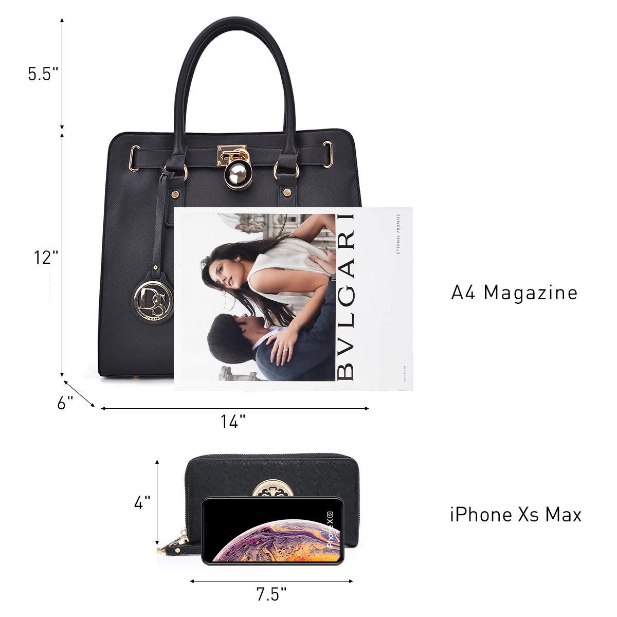 Women/'s Fashion Handbag Top Belted Padlock Satchel Bag Top Handle Shoulder Bag Purses w//Matching Wallet