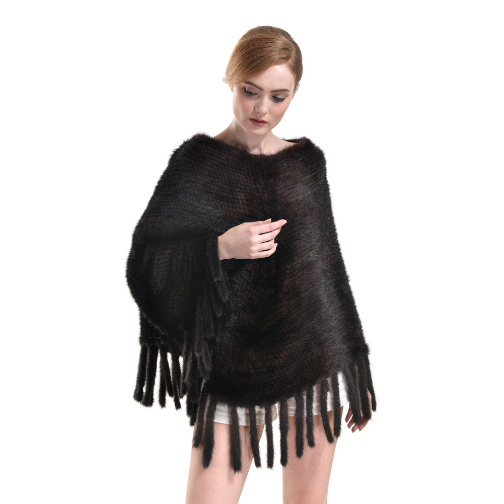 Genuine Mink Fur Shawl - Womens knitted Real Fur Poncho Wrap Winter Warm Pashmina Hoodie Cape Scarf Tassels (coffee)