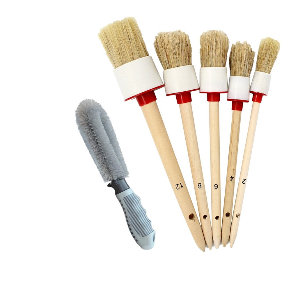 Cleaning Detailing Brush Kit,Boar hair brushes, Detailing Brush Set for Cleaning ,Automotive Detailing Brushes for Cleaning Wheels Air Vents / Engine / Interior / Emblems / Exterior IROCH