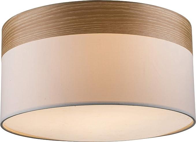 Lámpara de techo para dormitorio, pantalla de tela, lámpara de techo para salón (lámpara de dormitorio, aspecto de madera, 40 cm, 3 x E27): Amazon.es: Iluminación