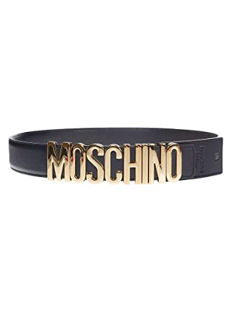 4988ed219a8 Moschino Women's A80078001555 Black Leather Belt at Amazon Women's Clothing  store: