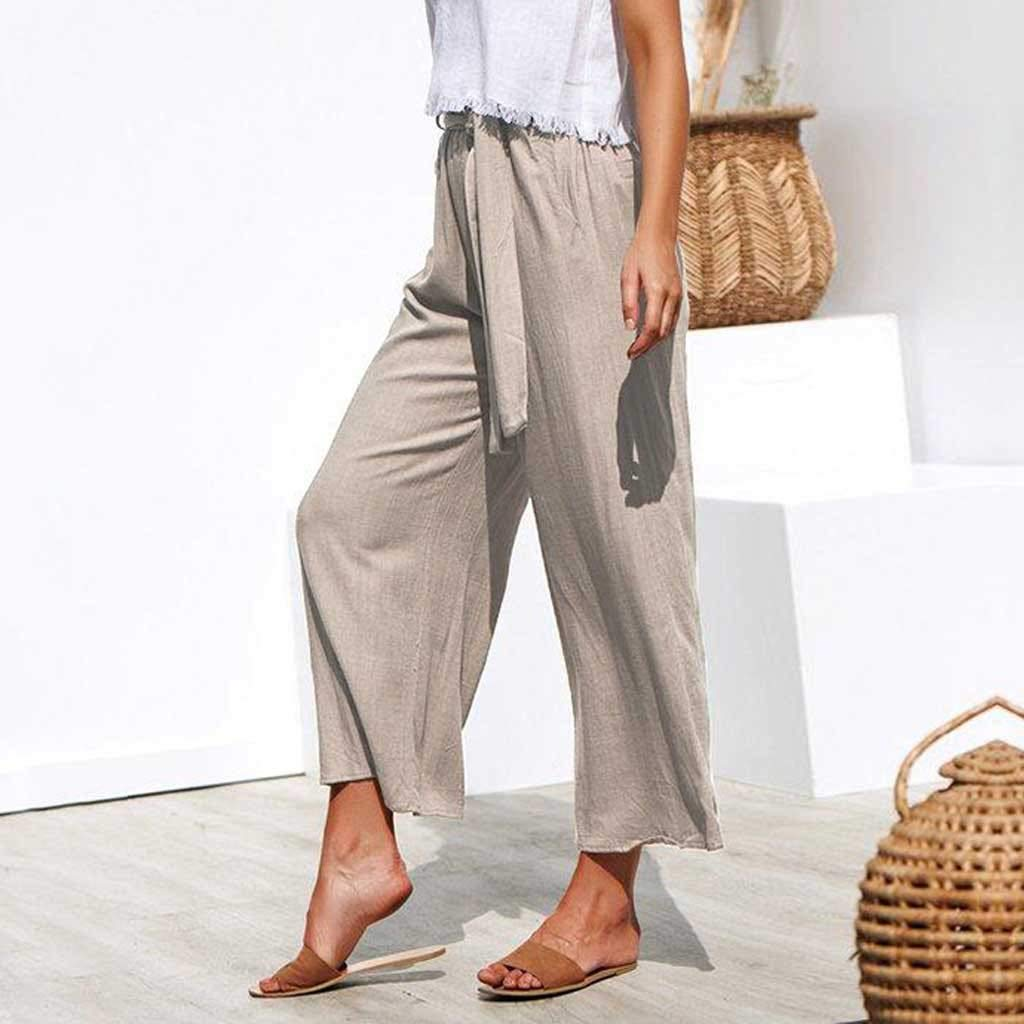 Pervobs Women Solid Casual Drawstring Belt High Waisted Loose Pockets Wide Leg Pants Yoga Trousers(XL, Beige) by Pervobs Women Pants (Image #3)