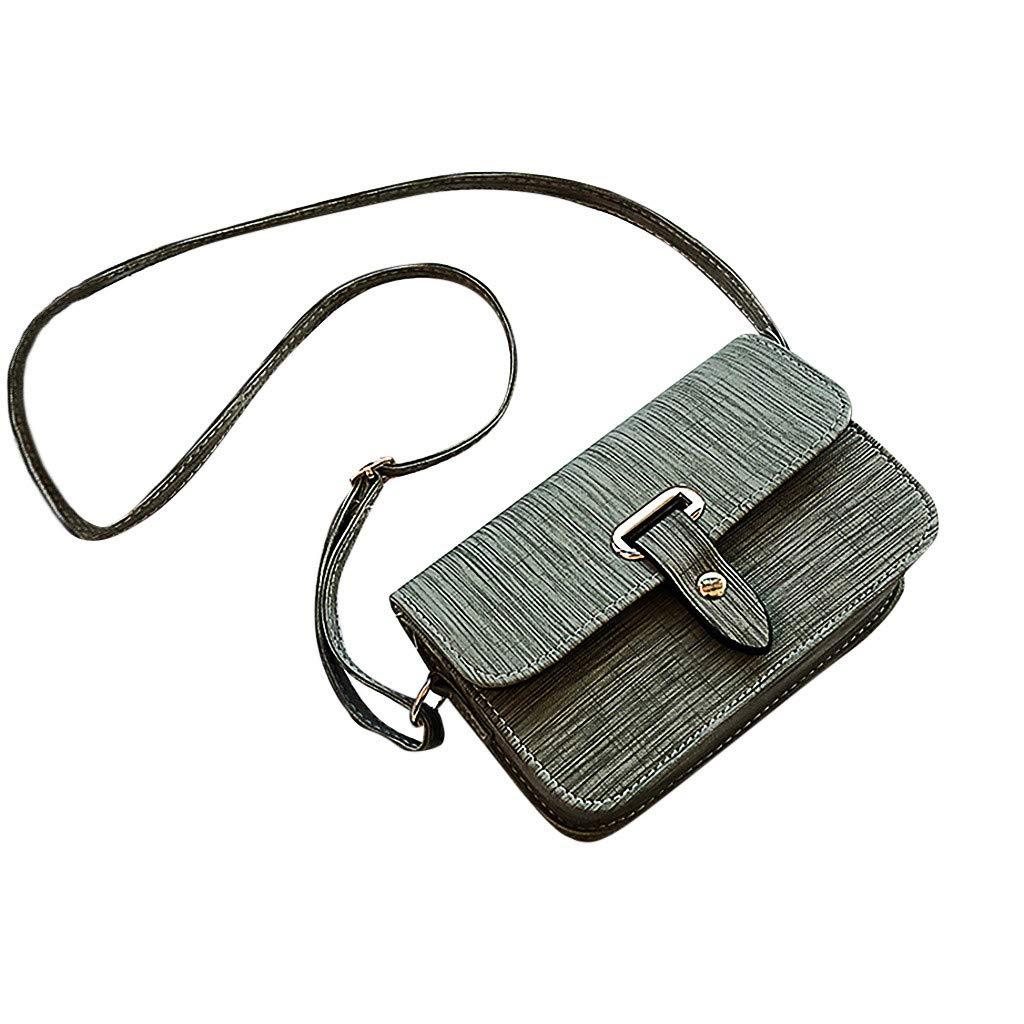 Mamun Mujeres botón sólido Color Bolsos de Hombro Messenger Phone Bag (Menta Verde)