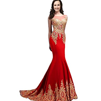 Kivary Sheer Top Mermaid Gold Lace Long Crystals Formal Evening Prom Dresses Red US 2