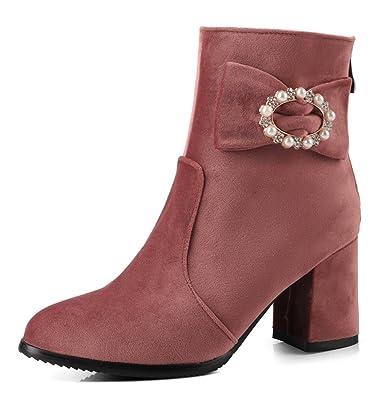 Easemax Damen Schick Retro Strass Schleife Ankle Stiefel Mit Absatz Rosa 37 EU qs1DbwhSng