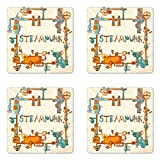 Printawe Colorful Coaster Set of Four, Industrial Machines with Gears and Chains Steampunk Themed Cartoon Style Design, Square Hardboard Gloss Coasters for Drinks, Multicolor