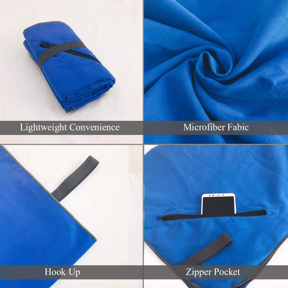 Blau, 80x160cm + 39x39cm Sea Free Mikrofaser Strandhandtuch 2 St/ück Set Schnelltrocknend Absorbierend Sporthandtuch Antibakterielles Ultraleicht Stranddecke Badetuch mit Tasche