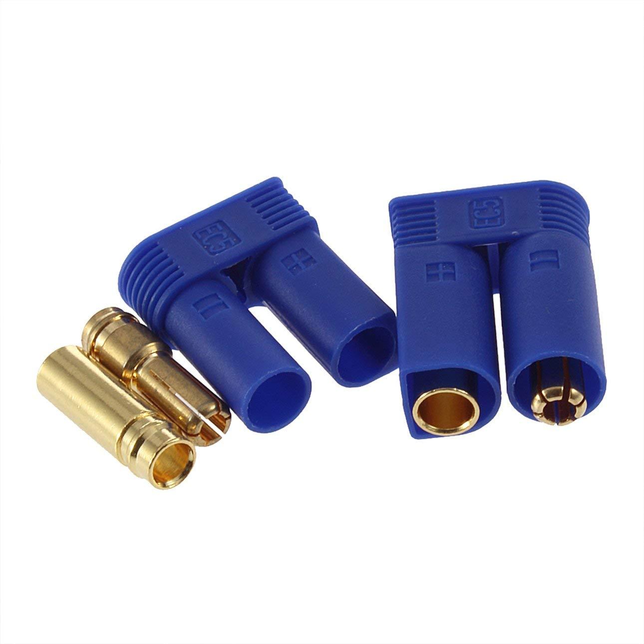 Liobaba 1 Pair EC5 Bullet Connectors Plugs Adapters Male/Female Losi Style 5mm