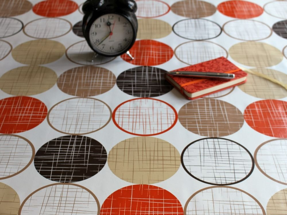 WJDhome Retro Circles Design by, Wipe Clean Tablecloth, PVC\Vinyl. Various sizes. (Red leaves, 140 x 200cm)
