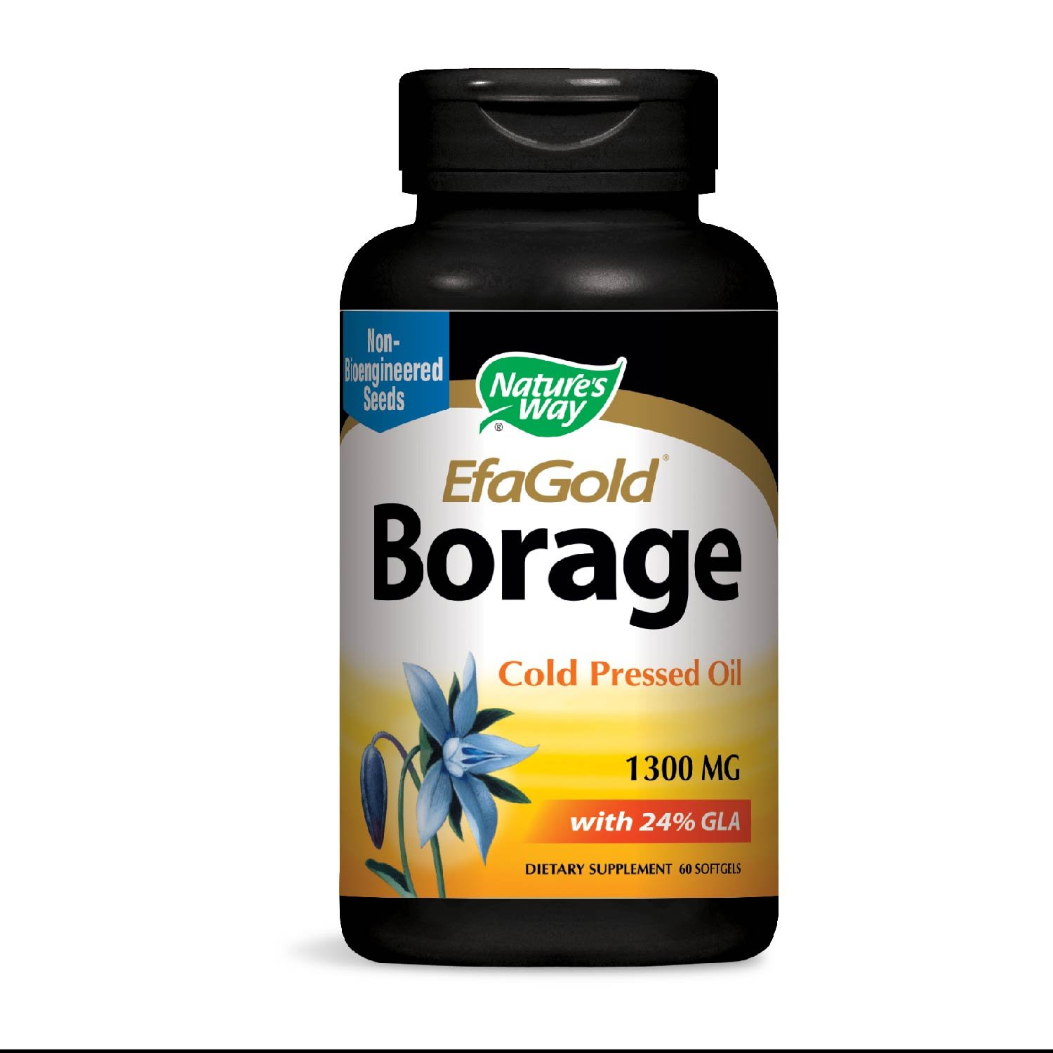 Nature's Way EfaGold Borage, Cold Pressed Oil 1300mg, 60 Softgels