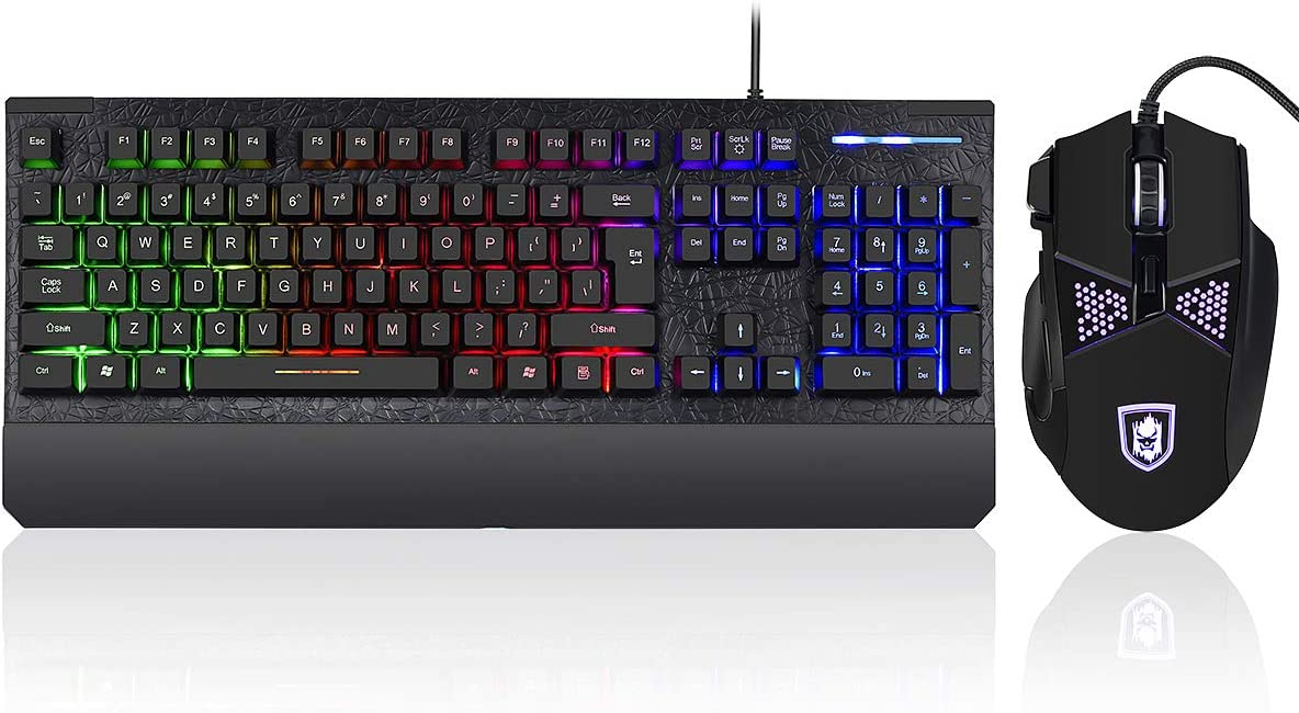 Programmable 3200 DPI 6 Button Gaming Mouse for Windows PC Gamer, Gaming Keyboard and Mouse Combo Colorful Lights Rainbow LED Backlit Keyboard with Ergonomic Wrist Rest