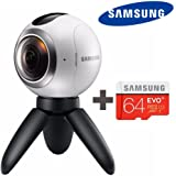 Samsung Gear 360 Degree Cam + Micro SD 64GB Spherical Camera SM-C200 for Galaxy S7, S7 Edge, S6, S6 Edge, S6 Edge Plus, Note 5 (International Version - No Warranty)