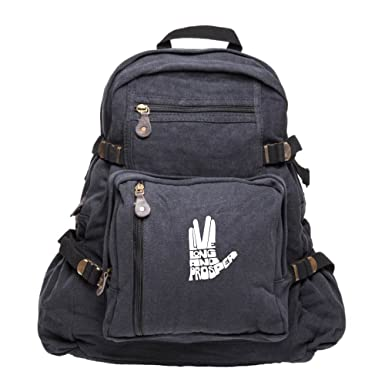 1ded4b9029 Live Long And Prosper Hand With Text Sport Heavyweight Canvas Backpack Bag  in Black   White