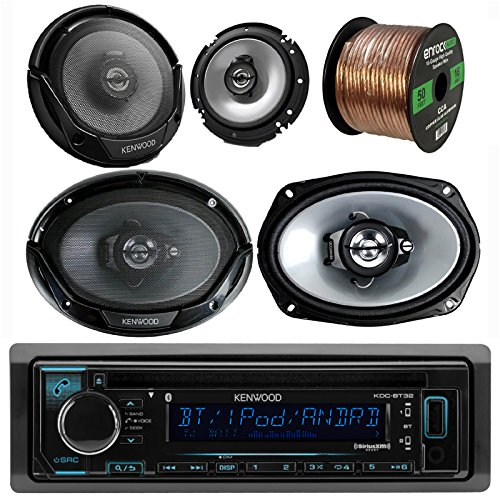 Kenwood Car CD MP3 Receiver with Bluetooth AM/FM Radio Player Bundle 2 6x9 Speakers, 2 6.5 Inch Speakers, Enrock 50 Ft 16g Speaker Wire (Built in Amp) (Kenwood Cable Aux)