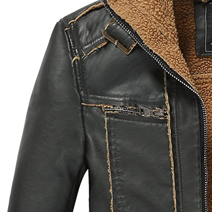 kemilove 2018 Mens Winter Medium Length Retro Multi-Pocket Thickening Leather Jacket Coat at Amazon Mens Clothing store: