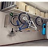 "FLEXIMOUNTS 4x8 Heavy Duty Overhead Garage Adjustable Ceiling Storage Rack, 96"" Length x 48"" Width x (22''-40"" Ceiling Dropdown), White"