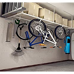 "Fleximounts 4x8 Overhead Garage Rack with Add-on Hooks Set Heavy Duty Height Adjustable Ceiling Racks (22''-40"" Ceiling Dropdown), White"